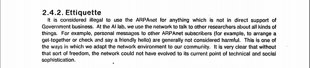 ARPAnet Ettiquette