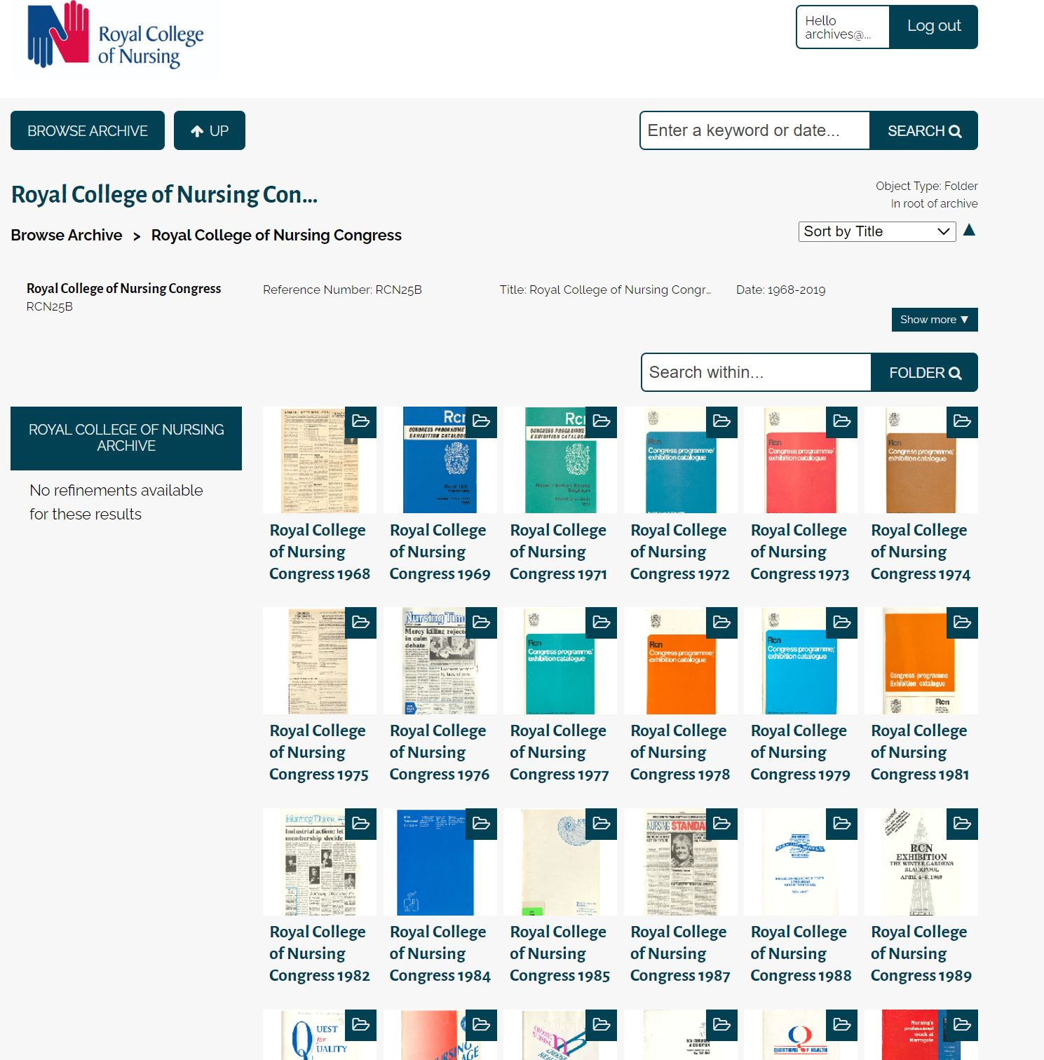 RCN Member digital archive Congress