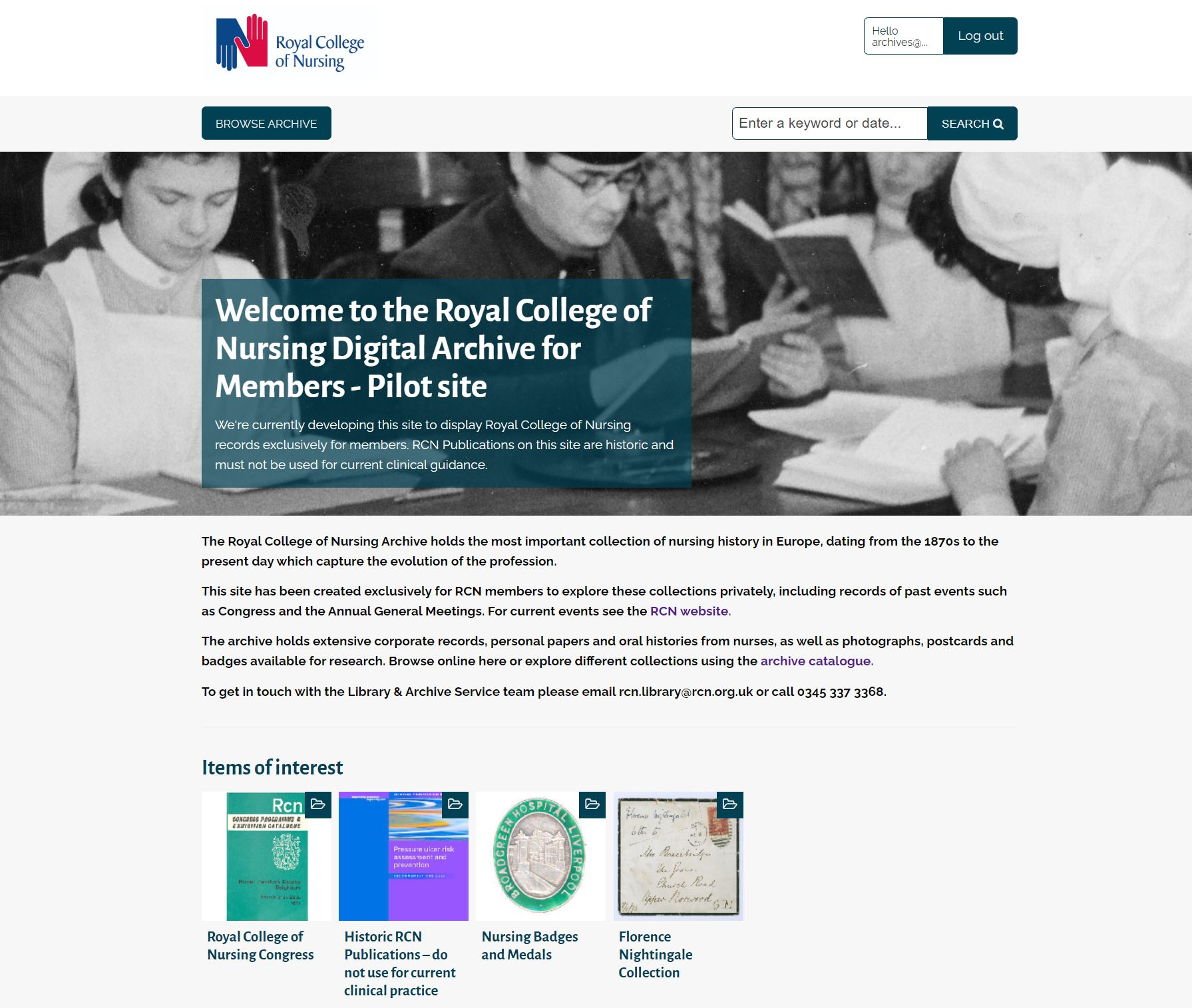 RCN Member digital archive homepage