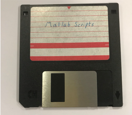 Photograph of a floppy disk labelled 'matlab files'.