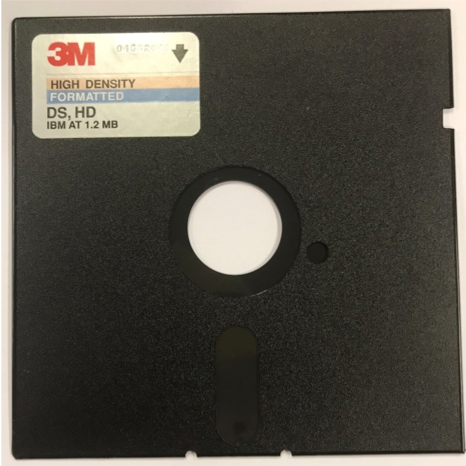 Photograph of a 5.25 inch diskette with no label